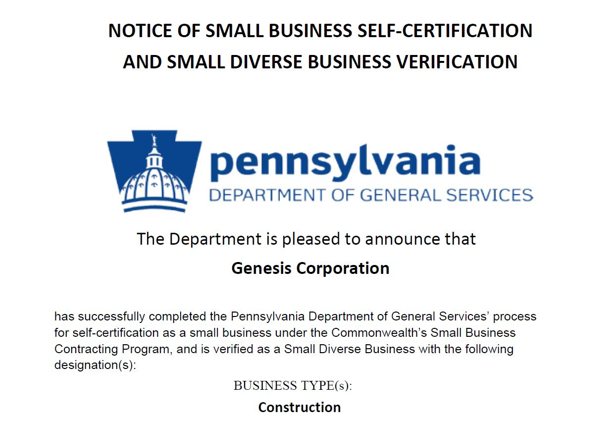 Genesis Corporation receives Small Diverse Business certification from Pennsylvania